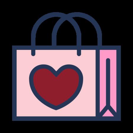 Rosa handlepose med rødt hjerte
